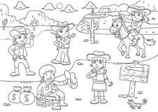 Απεικόνιση των άγριων κινούμενων σχεδίων δυτικών παιδιών κάουμποϋ για το χρωματισμό Στοκ φωτογραφία με δικαίωμα ελεύθερης χρήσης