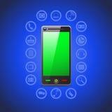 Απεικόνιση των έξυπνων εικονιδίων τηλεφωνικών εργαλείων Διανυσματική απεικόνιση