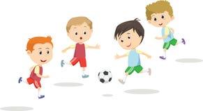 Απεικόνιση των αγοριών που κλωτσούν το ποδόσφαιρο στον αθλητικό τομέα Στοκ εικόνες με δικαίωμα ελεύθερης χρήσης