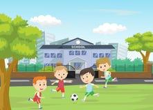Απεικόνιση των αγοριών που κλωτσούν το ποδόσφαιρο στον αθλητικό τομέα Στοκ Εικόνες