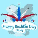 Απεικόνιση των αεριωθούμενων αεροπλάνων που πετούν στο σχηματισμό με το διάστημα αντιγράφων Ευτυχής ημέρα Bastille Στοκ Φωτογραφία