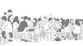Απεικόνιση των ανθρώπων που πίνουν και που τρώνε τα τρόφιμα οδών Στοκ εικόνα με δικαίωμα ελεύθερης χρήσης