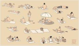 Απεικόνιση των ανθρώπων που χαλαρώνουν και που κάνουν ηλιοθεραπεία στην παραλία Στοκ φωτογραφία με δικαίωμα ελεύθερης χρήσης