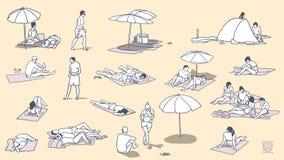 Απεικόνιση των ανθρώπων που χαλαρώνουν και που κάνουν ηλιοθεραπεία στην παραλία Στοκ εικόνα με δικαίωμα ελεύθερης χρήσης