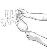 Απεικόνιση των αρσενικών χεριών που χύνουν το κόκκινο κρασί από τη βρύση Στοκ Φωτογραφίες