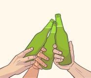 Απεικόνιση των αυξημένων μπουκαλιών μπύρας στα εκλεκτής ποιότητας χρώματα Ευθυμίες Στοκ φωτογραφία με δικαίωμα ελεύθερης χρήσης