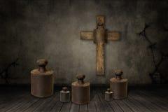 Απεικόνιση των βαρών κάτω από το σταυρό Στοκ φωτογραφία με δικαίωμα ελεύθερης χρήσης