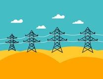 Απεικόνιση των βιομηχανικών ηλεκτροφόρων καλωδίων στο επίπεδο Στοκ Εικόνες