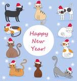 Απεικόνιση των γατών στα νέα καλύμματα έτους Διανυσματική απεικόνιση