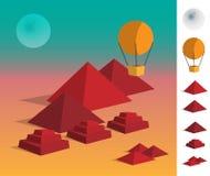 Απεικόνιση των γεωμετρικών πυραμίδων τοπίων στο επιδόρπιο Στοκ φωτογραφίες με δικαίωμα ελεύθερης χρήσης