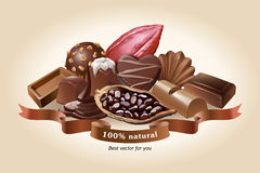 απεικόνιση των γλυκών σοκολάτας διανυσματική απεικόνιση