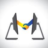 Απεικόνιση των διαπραγματεύσεων Διαδικτύου, συνεργασίες Στοκ Εικόνες