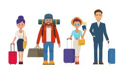 Απεικόνιση των διαφορετικών ταξιδιωτικών ανθρώπων με τις αποσκευές Στοκ Φωτογραφίες