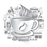 Απεικόνιση των εικονιδίων καφέ καθορισμένων Στοκ Εικόνες