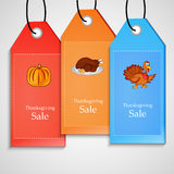 Απεικόνιση των ετικεττών πώλησης για την ημέρα των ευχαριστιών Στοκ εικόνα με δικαίωμα ελεύθερης χρήσης