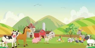 Απεικόνιση των ευτυχών κινούμενων σχεδίων ζώων αγροκτημάτων ελεύθερη απεικόνιση δικαιώματος