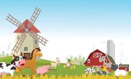 Απεικόνιση των ευτυχών κινούμενων σχεδίων ζώων αγροκτημάτων Στοκ φωτογραφία με δικαίωμα ελεύθερης χρήσης