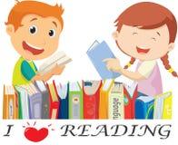 Απεικόνιση των ευτυχών παιδιών που διαβάζουν τα βιβλία Απομονωμένος στο λευκό διανυσματική απεικόνιση