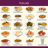 Απεικόνιση των εύγευστων παραδοσιακών τροφίμων του Punjab Ινδία ελεύθερη απεικόνιση δικαιώματος