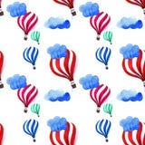 Απεικόνιση των ζωηρόχρωμων μπαλονιών ζεστού αέρα στα μπλε σύννεφα Στοκ Εικόνες