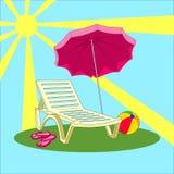 Απεικόνιση των θερινών διακοπών - καρέκλα παραλιών, ομπρέλα, παντόφλες, σφαίρα Στοκ Εικόνα