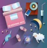 Απεικόνιση των διανυσματικών εικονιδίων για το θέμα ύπνου Στοκ φωτογραφία με δικαίωμα ελεύθερης χρήσης