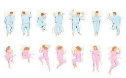 Απεικόνιση των διαφορετικών θέσεων που υποστηρίζουν στον ύπνο και το όνειρο Στοκ εικόνα με δικαίωμα ελεύθερης χρήσης