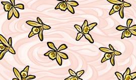 Απεικόνιση των κίτρινων λουλουδιών βανίλιας στο κτυπημένο υπόβαθρο κρέμας Στοκ Φωτογραφίες