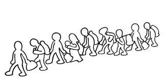 Απεικόνιση των μεταναστών διανυσματική απεικόνιση