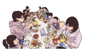Απεικόνιση των νέων μητέρων και των παιδιών που απολαμβάνουν ένα γεύμα Στοκ Εικόνες