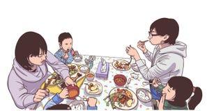 Απεικόνιση των νέων μητέρων και των παιδιών που απολαμβάνουν ένα γεύμα Στοκ φωτογραφίες με δικαίωμα ελεύθερης χρήσης