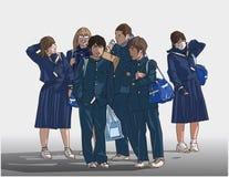 Απεικόνιση των νέων σπουδαστών που περιμένουν να πάει στο σχολείο στο χρώμα Στοκ φωτογραφία με δικαίωμα ελεύθερης χρήσης