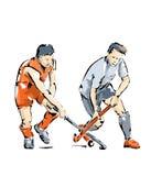 Απεικόνιση των παικτών χόκεϋ κατά τη διάρκεια ενός ανταγωνισμού Στοκ φωτογραφία με δικαίωμα ελεύθερης χρήσης
