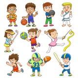 Απεικόνιση των παιδιών που παίζουν το διαφορετικό αθλητισμό Στοκ φωτογραφία με δικαίωμα ελεύθερης χρήσης