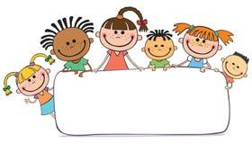 Απεικόνιση των παιδιών που τιτιβίζουν πίσω από την αφίσσα απεικόνιση αποθεμάτων