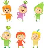 Απεικόνιση των παιδιών που φορούν τα λαχανικά κοστουμιών απεικόνιση αποθεμάτων
