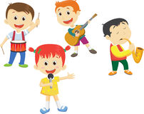 Απεικόνιση των παιδιών σχολείου που παίζουν τα μουσικά όργανα απεικόνιση αποθεμάτων