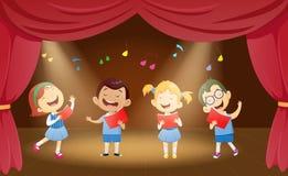 Απεικόνιση των παιδιών σχολείου που τραγουδούν στο στάδιο διανυσματική απεικόνιση