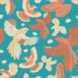 Απεικόνιση των πουλιών, μπλε jay, γεράκια κατά την πτήση διανυσματική απεικόνιση