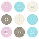 Απεικόνιση των στρογγυλών ζωηρόχρωμων κουμπιών για τα ενδύματα Διανυσματική απεικόνιση