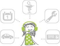 Απεικόνιση των υπηρεσιών που ένα concierge ή ένας ρεσεψιονίστ μπορεί να παρέχει Στοκ Φωτογραφία