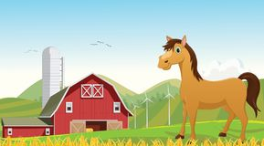 Απεικόνιση των χαριτωμένων κινούμενων σχεδίων αλόγων στο αγρόκτημα Στοκ φωτογραφία με δικαίωμα ελεύθερης χρήσης