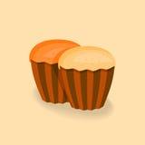 Απεικόνιση των cupcakes χωρίς την κρέμα Στοκ Φωτογραφία