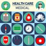 Απεικόνιση υγείας και ιατρικής φροντίδας τα εικονίδια καθορισμένα την υγειονομική περίθαλψη και ιατρικός Στοκ Εικόνα
