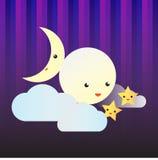 Απεικόνιση φεγγαριών και αστεριών Στοκ εικόνες με δικαίωμα ελεύθερης χρήσης