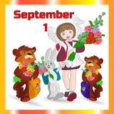 Απεικόνιση φθινοπώρου την 1η Σεπτεμβρίου σε ένα πορτοκαλί πλαίσιο, schoolgir ελεύθερη απεικόνιση δικαιώματος