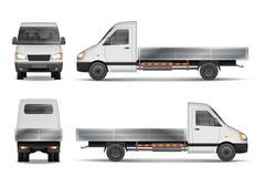 Απεικόνιση φορτίου van vector που απομονώνεται στο λευκό Εμπορικό φορτηγό πόλεων πρότυπο οχημάτων παράδοσης από την πλευρά, μέτωπ διανυσματική απεικόνιση