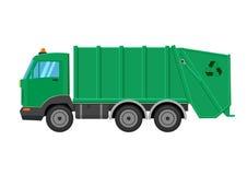 Απεικόνιση φορτηγών απορριμάτων που απομονώνεται στο άσπρο υπόβαθρο Στοκ εικόνα με δικαίωμα ελεύθερης χρήσης