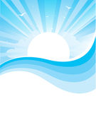 Απεικόνιση φύσης Sascape με το φωτεινό ήλιο και το αβ Στοκ εικόνα με δικαίωμα ελεύθερης χρήσης