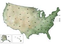 Απεικόνιση χάρτης των ΗΠΑ, Ηνωμένες Πολιτείες Στοκ Εικόνες